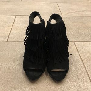 Worn once peep toe bootie heels. Vince Camuto